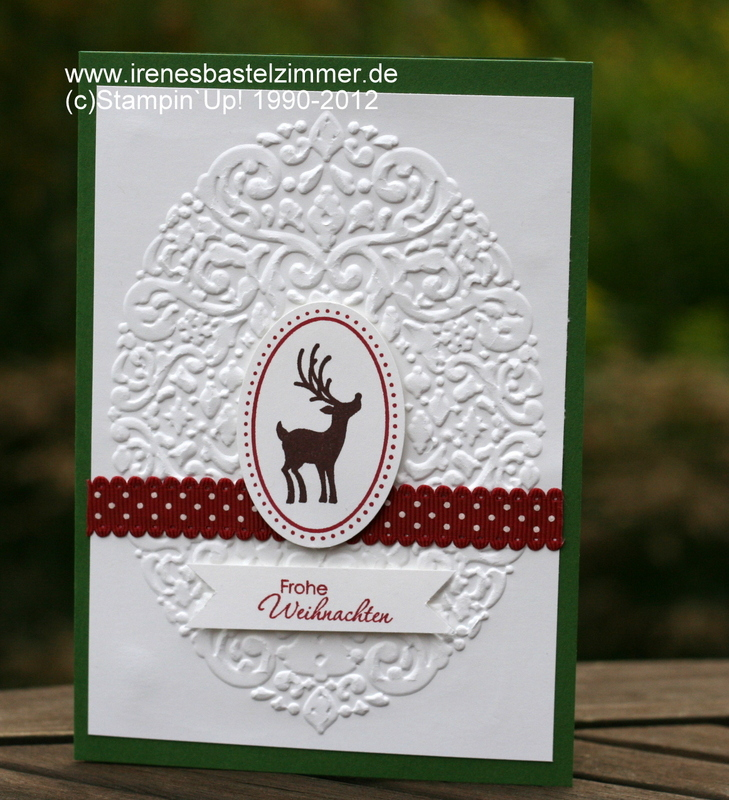 Weihnachtskarte-Stampin`Up!-Prägeform-Joyous Celebrations-Big Shot-extragroßes Oval-Perfekte Pärchen