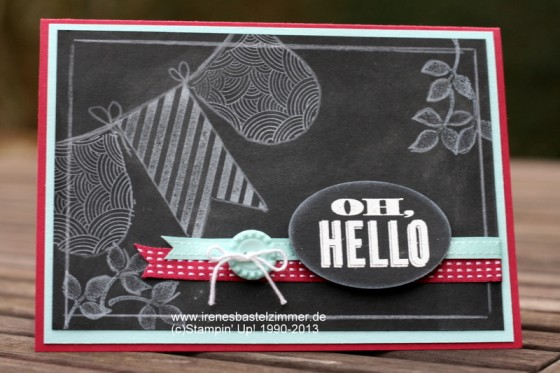 Stampin' Up!-Chalkboard Technique-Grußkarte-Oh Hello