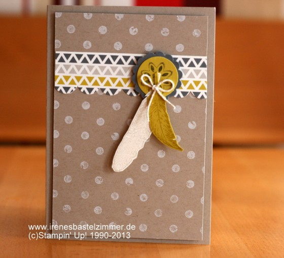 Fine Feathers-stampin up-distressed dots